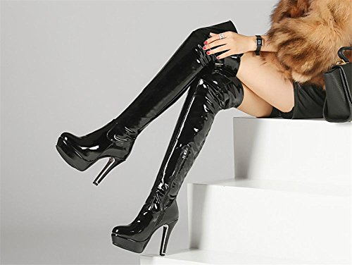 NVXIE Women's Over Knee Thigh Boots Long Boot Patent Leather Side Zipper Rough High Heel Black Red Fall Winter Party Nightclub EUR40UK7 F6KMV3