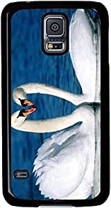 Two-White-Swans-On-The-Water Cases for Samsung Galaxy S5 I9600 with Black sides