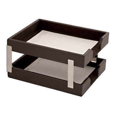 Double Econo-Line Leather Letter Trays Color: Brown