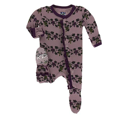 Kickee Pants Little Girls Print Classic Ruffle Footie with Snaps - Raisin Grape Vines, 0-3 Months (Infant Raisin Girl)