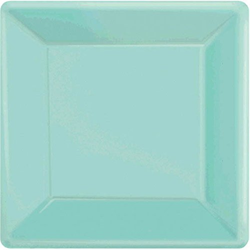 Robin's-Egg Blue Square Paper Plates   Party Tableware   120