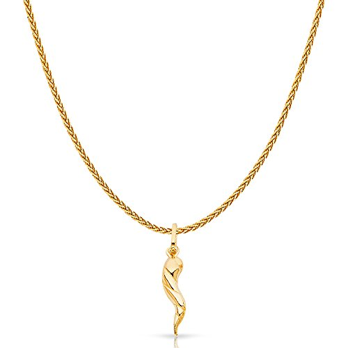 (14K Yellow Gold Twisted Cornicello Italian Fortune Horn Charm Pendant with 1.1mm Wheat Chain Necklace -)