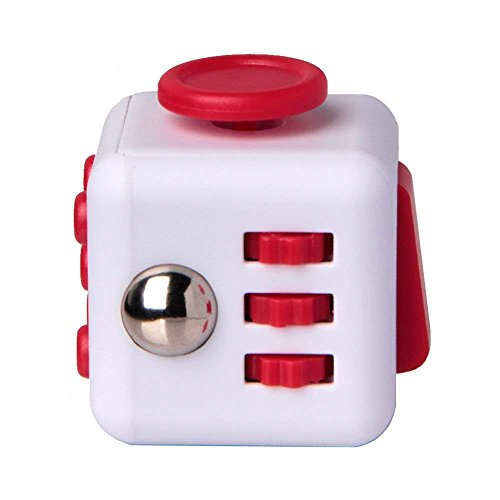 Price comparison product image Fidget Cube Toy Relieves Stress ADHD Anxiety And Helps Focusing for Kids & Adults (White Red)