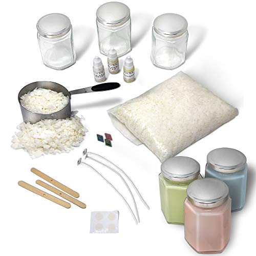 Complete Soy Wax Candle Making Kit DIY Beginners Set- Includes Supplies to Make 3 Candles Including Soy Wax, Premium Essential Oils, Hexagon Jars, Color Dye Chips, Wax Melting Pot and More. by Brass Tacks (Image #1)