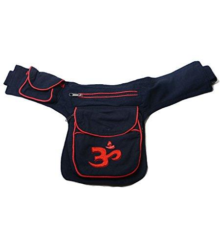 Kunst und Magie - Bolso al hombro de algodón para mujer ca. 28 x 18 x 4 cm negro y rojo
