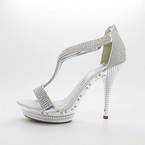London Footwear - plataforma mujer Plateado - plata
