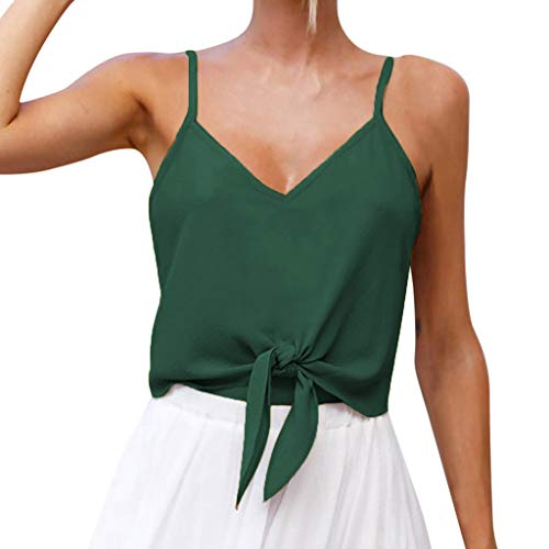 (Sunhusing Women's Button-Down Camisole Top Hem Knotted Bow Strappy Solid Color Mini Vest Shirt)