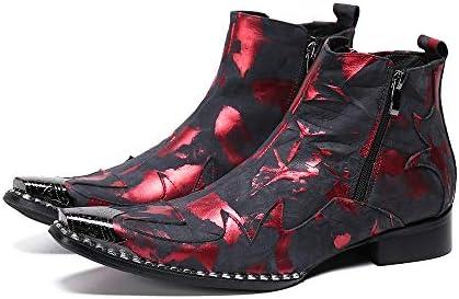 FIESSO Zigrinata Stivaletti for Uomo Stivali da Lavoro Premium Genuine Leather Zipper Metallo a Punta Le Dita dei Piedi Tacco Senza Chiusure (Color : Black And Red, Dimensione : 39 EU)
