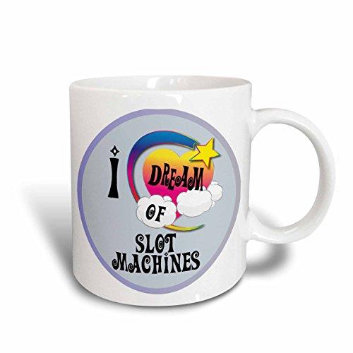 3dRose Cute Girly Heart Star Clouds I Dream of Slot Machines Ceramic Mug, 15-Ounce