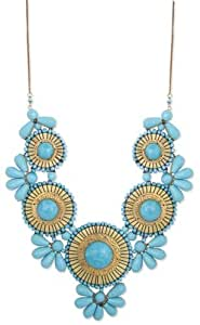 "Zad Turquoise Beaded Medallion Bib Necklace 24""-26"""