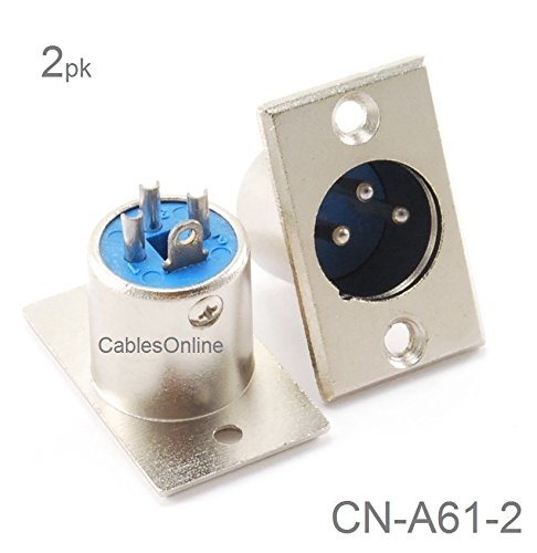 CablesOnline, 2-Pack XLR 3-Pin Male Plug Panel Mount, Nickel Plated Connector, CN-A61-2