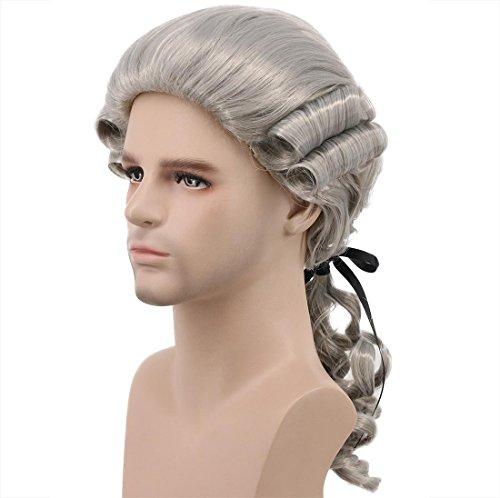 Karlery Women Men Long Wave Blonde Gray Wig Halloween Costume Wig Anime Cosplay Wig (Gray)