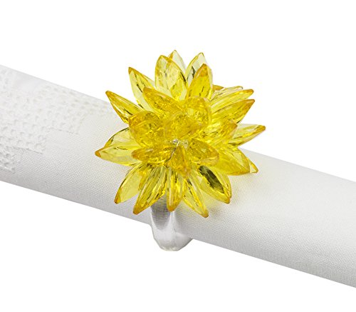 (Fennco Styles Crystal Design Collection Napkin Ring - Set of 4 (Yellow Crystal Flower))