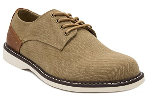 London Fog Oxfords - London Fog Mens Exeter Canvas Dress Shoe Khaki 10.5 M US