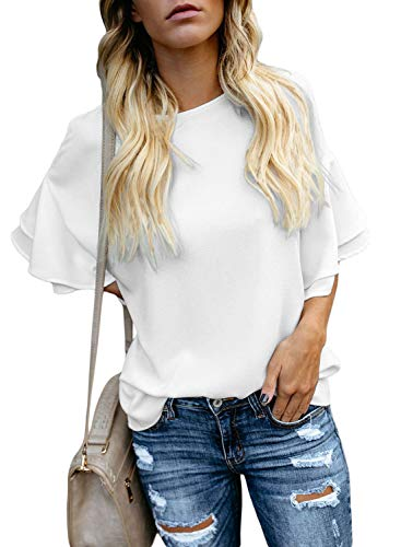 Top Tiered Sleeve (LOSRLY Women Solid Crew Neck Short Tiered Sleeve Tops Casual Blouses White M)