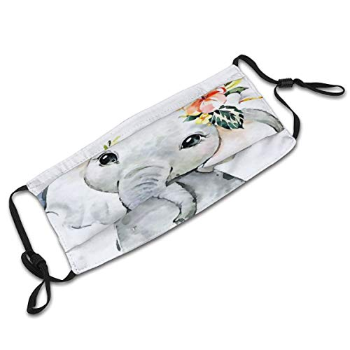 Boho Elephant Face Covering Reusable with Filter Washable Mouth Protection Bandana Dustproof Gaiter 2 Pack