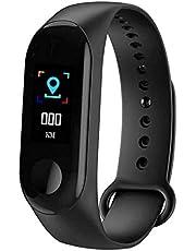 سوار ذكي ام 3 مقاوم للماء مع ساعة الذكية و مراقب معدل نبضات القلب وضغط الدم ومتعقب اللياقة البدنية قياس واحد