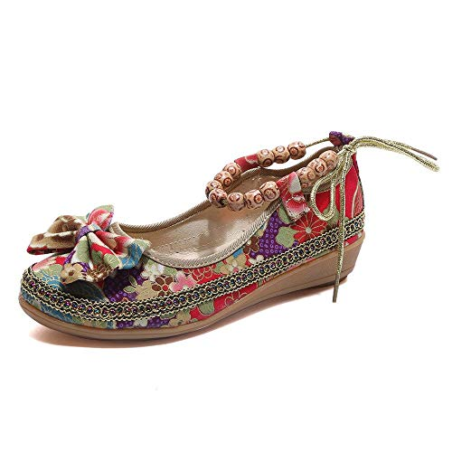 ed86af8630d38 BININBOX Flat Shoes,Retro Women Ethnic Beading Round Toe Colorful Loafers  Casual Embroidered Shoes (US:8, A)