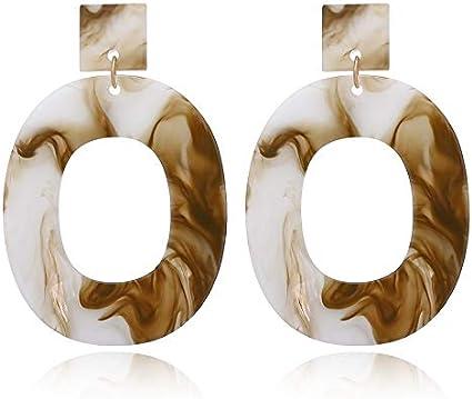GMZOO Pendientes Pendiente de Gota Ovalado Grande Colorido de la Vendimia para Las Mujeres declaración geométrica cuelga el Pendiente de la joyería de Moda