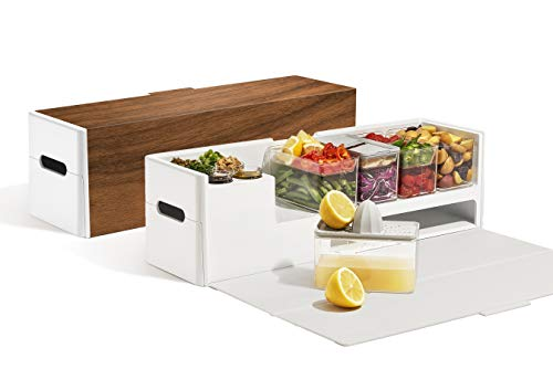 Prepdeck Meal Prep Station - Ultimate Kitchen Organizer (Walnut)