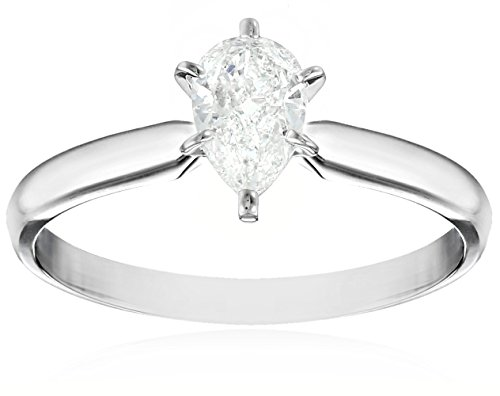 14k White Gold 1/2 carat Pear Shape Solitaire Engagement Ring, Size 7 (Pear Diamond Wedding Ring)