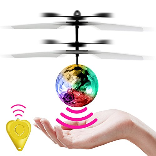 StillCool RC Flying Ball Children Flying Toys Infrared Induction Drone Hand Suspension Helicopter Ball Built-in Shinning LED Lights RC Toy for Children Kids Teenagers (Transparent ball)