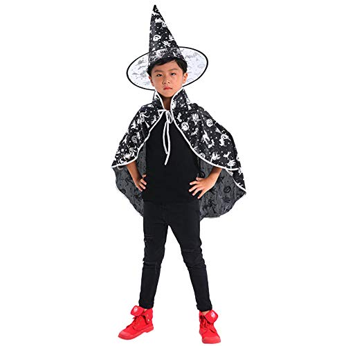 MOKO-PP Kids Adult Children Halloween Baby Costume Wizard Witch Cloak Cape Robe+Hat Set(white)
