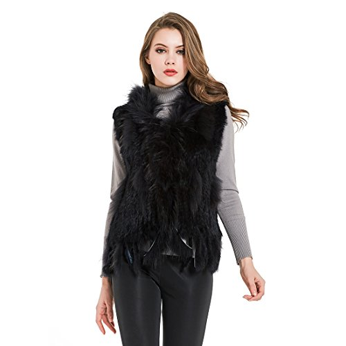 Winter Warm Mongolian Real Rabbit Fur Vest Cardigan for Women