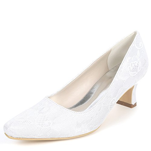 Mujeres Tobillo White Dama L Cerrados Moda Las De Tacones 5cm Boda Zapatos Gruesos yc Encaje La 5 RXROaw