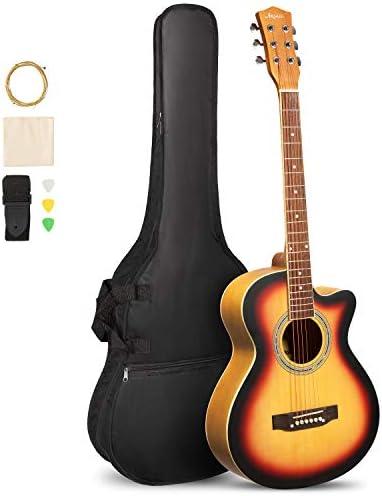 ARTALL 39 Inch Handcrafted Acoustic Cutaway Guitar Beginner KitGig bag & Accessories Matte Sunset