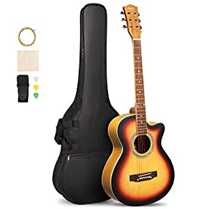 ARTALL 39 Inch Handcrafted Acoustic Cutaway Guitar Beginner Kit with Gig bag & Accessories, Matte Sunset 41gbGJKiaBL