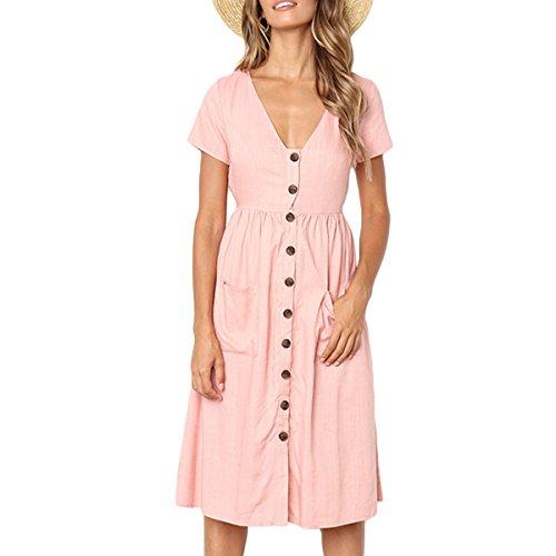 Femmes Sexy V Neck Simple Boutonnage A-Ligne  Manches Courtes Vintage High Waist Beach Dress Pink