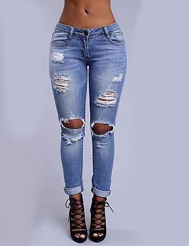 Blue Jeans Navy Couleur Chic YFLTZ pour Street Femme Pantalon Unie PWqx58Ozx