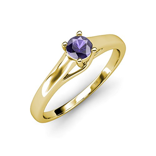 TriJewels Iolite Solitaire Ring 0.50 ct in 14K Yellow Gold.size 6.0 ()