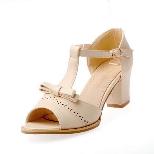 AmoonyFashion Womens Open Toe Mid Heel Chunky Soft Material PU Solid Sandals with Bowknot and T-strap Beige 1aGkc7d