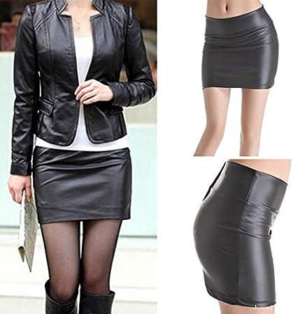 YMKCBB Falda Corta Minifalda Bodycon para Mujer Falda Corta con Cremallera De Cuero Sintético Minifalda Corta S-3Xl