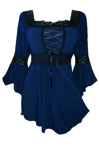 Dare to Wear Victorian Gothic Peasant Plus Size Women's Plus Size Renaissance Corset Top, Midnight 2x