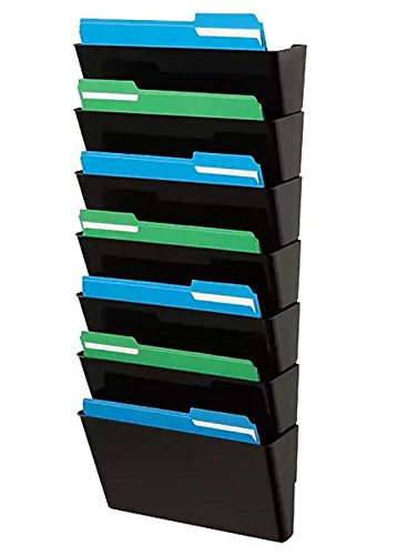 1InTheHome Expandable Wall Wall File Organizer, Letter-Sized,7 Pocket, Black