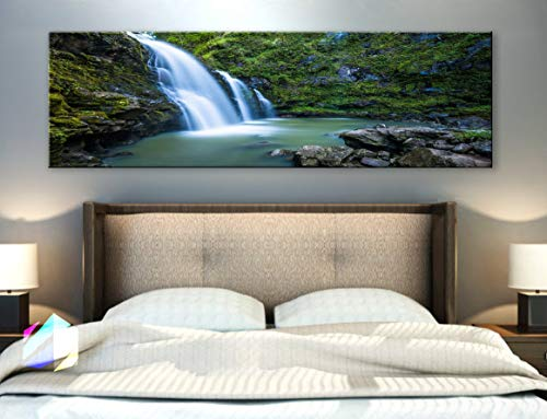 BoxColors - Single panel 3 Size Options Art Canvas Print cascade creek landscape nature river rocks stream water waterfall woods tropical relax Wall Home Office decor (framed 1.5