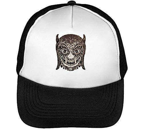 Hombre Devil Blanco Negro Gorras Snapback Beisbol Tribal Mask Spooky c5q6SI7