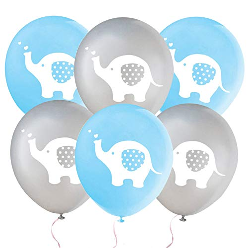 32 Pieces Elephant Party Balloons Boy Birthday Balloon Decorations Blue and Grey Elephant Latex Balloons for Kids Birthday Party, Baby Shower, Gender Reveal, Animal Themed Party Supplies(Blue & Grey)