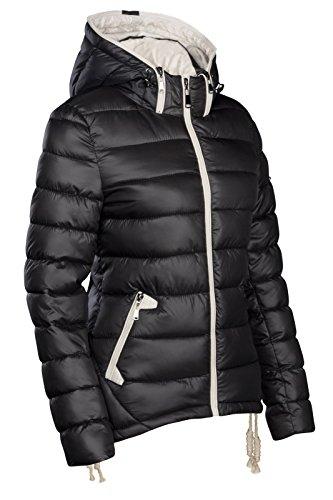S'West �?Chaqueta de invierno para mujer, de diseño, corta, acolchada, aspecto de plumón, con capucha, anorak de esquí negro