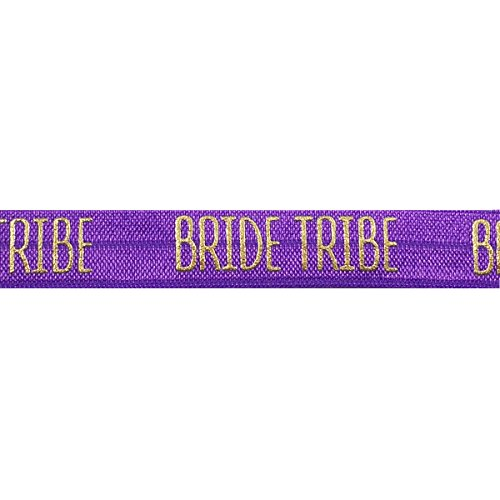 "5 Yards of Gold Bride Tribe Elastic - 5/8"" Metallic Foil FOE - Headbands Hair Ties Favors - Fashion Elastic (Purple)"