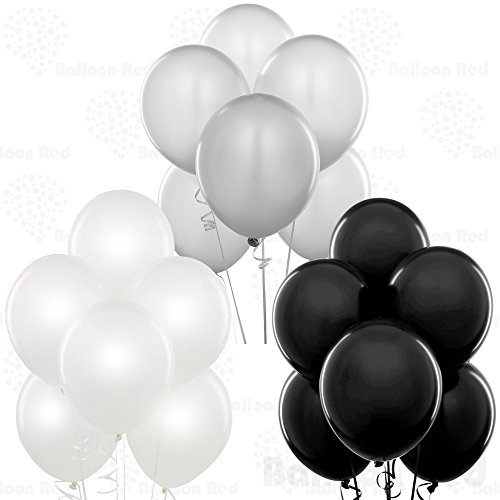 12 Inch Pearlized Latex Balloons (Premium Helium Quality), Pack of 72, Pearl White, Metallic Silver, Black