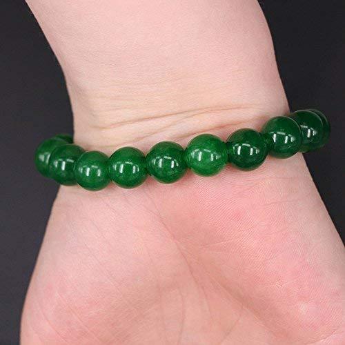 Jade Gems Round Bead - Phonphisai shop Natural 10mm Dark Green Jade Round Gemstone Beads Stretchy Bangle Bracelet