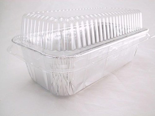 Disposable Aluminum 2 Lb. Loaf Pan with Clear Plastic Snap on Lid #5100P (25) by Handi-Foil