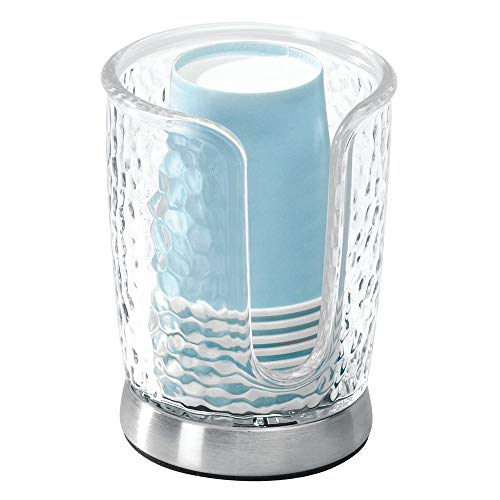 Designer Contemporary Vanity Bath - mDesign Modern Plastic Compact Small Disposable Paper Cup Dispenser - Storage Holder for Rinsing Cups on Bathroom Vanity Countertops - Clear/Brushed