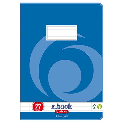 Herlitz Heft A4, Lineatur 27, holzfreies Papier, liniert mit 2 Rändern, 3-er Packung, 80 g/m², 16 Blatt, weiß
