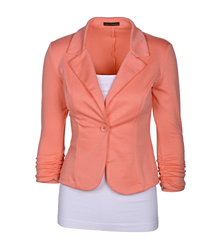Floral Knit Cardigan - Auliné Collection Women's Casual Work Solid Color Knit Blazer Peach 3X