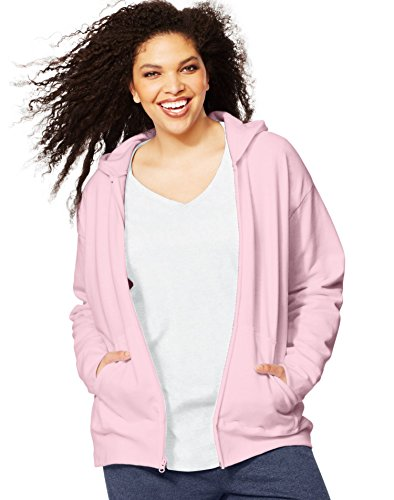 Just My Size Women's Plus Full Zip Fleece Hoodie, Pale Pink, 2X